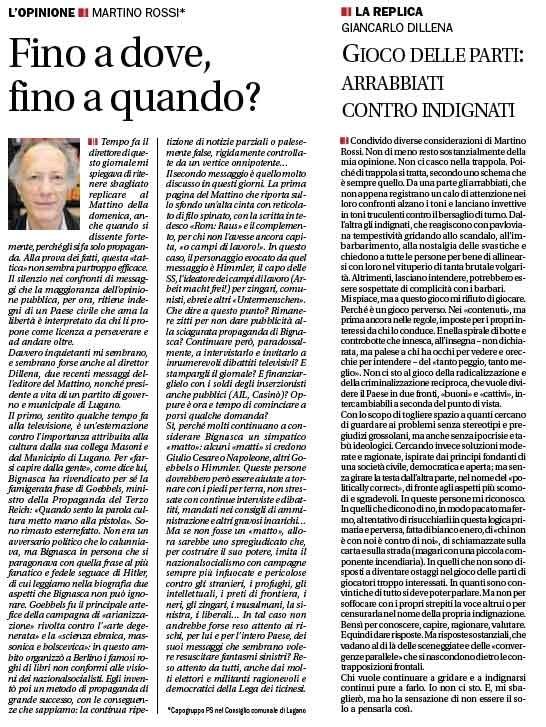 """""""Fino a dove, fino a quando?"""", Corriere del Ticino, 21 settembre 201010"""