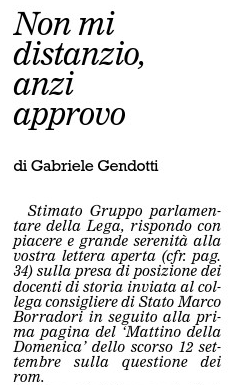 """""""Non mi distanzio, anzi approvo"""", La Regione, 2 ottobre 2010"""
